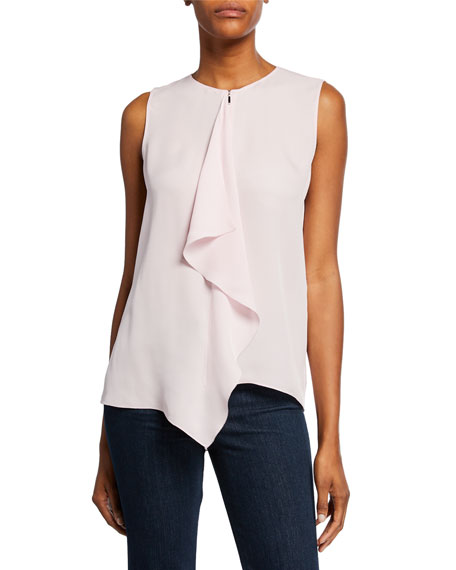 Image 1 of 1: Pernilla Sleeveless Drape-Front Silk Blouse