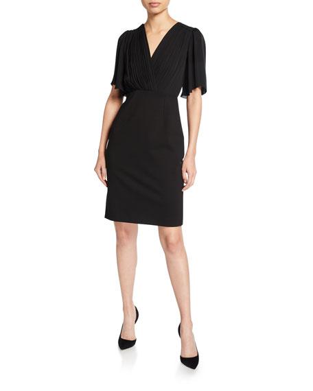 Tavara V-Neck Elbow-Sleeve Ponte Dress