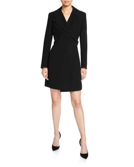 Image 1 of 1: Charlotte Long-Sleeve Mini Dress with Notch Collar