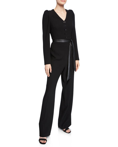 Campbell Long-Sleeve Jumpsuit with Sash Belt