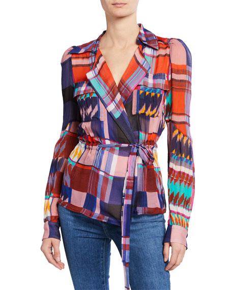 Joanna Check Long-Sleeve Wrap Blouse
