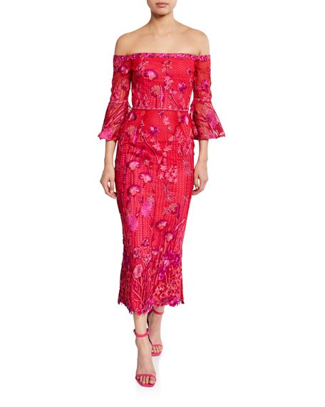 Image 1 of 1: Floral Embroidered Lace Off-the-Shoulder Tea-Length Dress