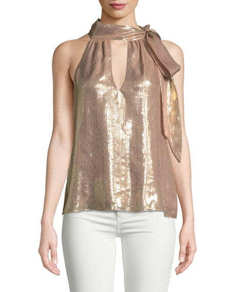 Sasha Metallic Tie-Neck Sleeveless Top