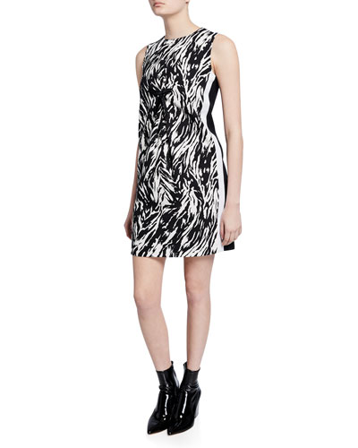 Zebra-Print Sleeveless Short Shift Dress