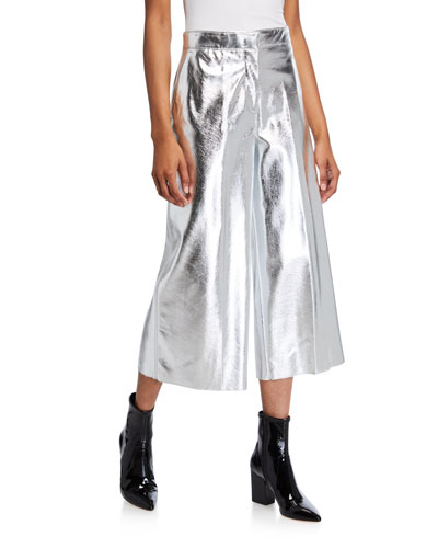 Metallic Wide-Leg Cropped Pants