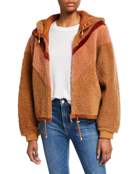 Colorblocked Shearling Bomber Hoodie
