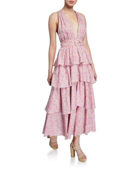 Paulina Belted Tiered Floral-Print Long Dress