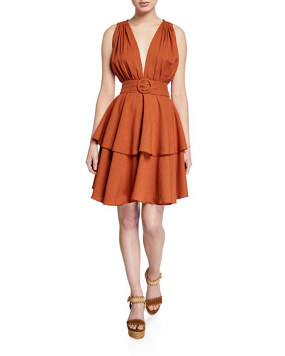 Astrid Belted Tiered Plunge Dress