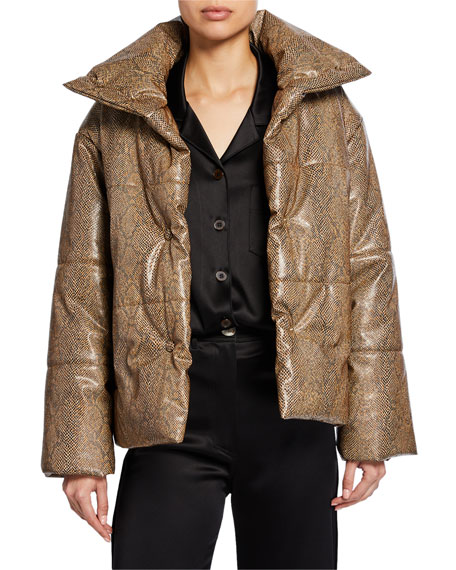 Image 1 of 1: Hide Snake-Print Puffer Jacket