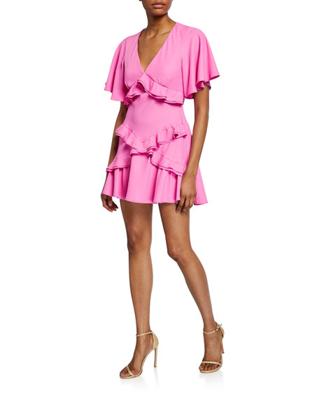 Image 1 of 1: The Jones Short-Sleeve Ruffle Dress