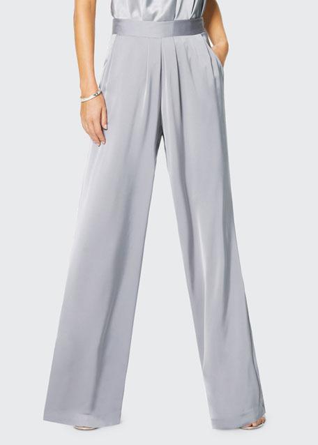 Iris Satin Wide-Leg Pants