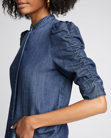Button-Front Elbow-Sleeve Shirred Denim Shirt
