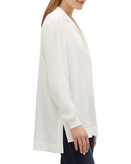 Boyd V-Neck Long Sleeve Matte Silk Blouse