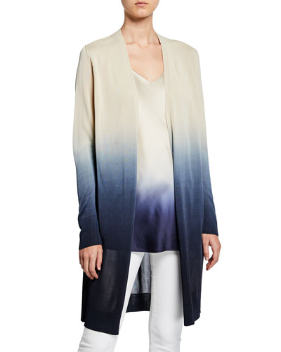 Dip-Dye Metropolitan Shine Open-Front Cardigan
