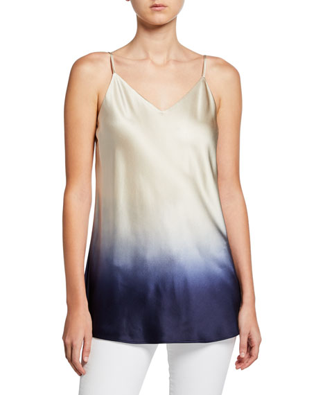 Eva Ombre V-Neck Silk Tank Top