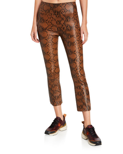 High-Waist Python-Leather Cropped Flare Leggings