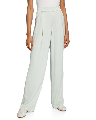 Wide-Leg Pleated Pull-On Pants