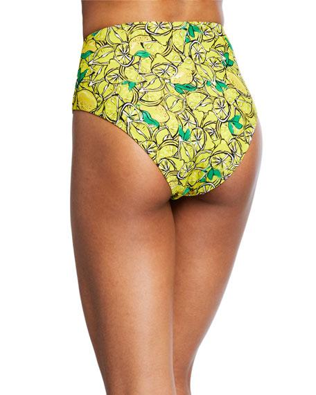 Kiana Lemon-Print High-Waist Bikini Bottom