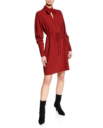 Tie-Neck Long-Sleeve Dress