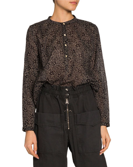 Image 1 of 1: Maria Printed Button-Front Long-Sleeve Blouse