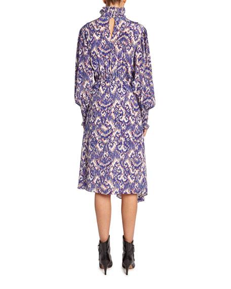 Yescott Printed High-Neck Midi Dress