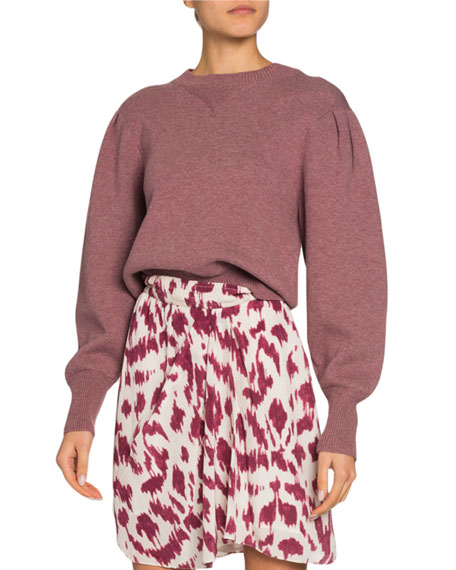 Image 1 of 1: Kelaya Puff-Sleeve Crop Sweater