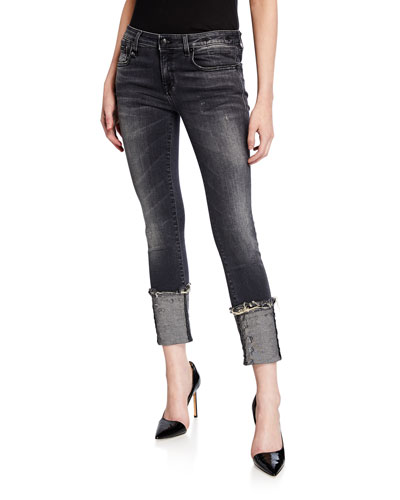 Kate Distressed Cuffed Skinny Jeans