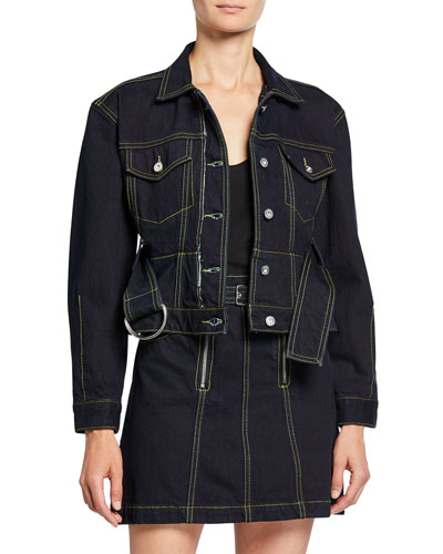 Self-Belted Cropped Denim Jacket