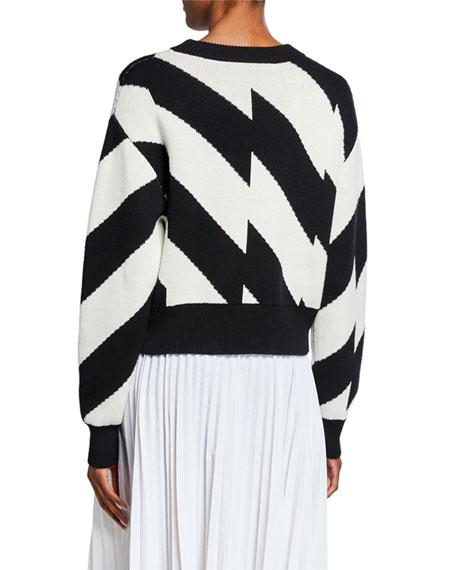 Striped Long-Sleeve Wool/Cotton Sweater