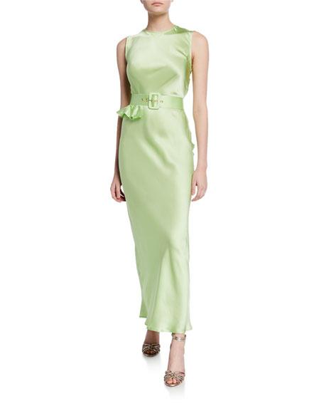 Take a Bite Crewneck Belted Sleeveless Silk Dress