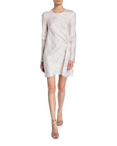 Twice As Nice Printed Long-Sleeve Twist-Front Dress