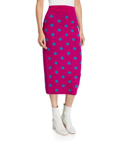 Fitted Polka Dot Long Skirt