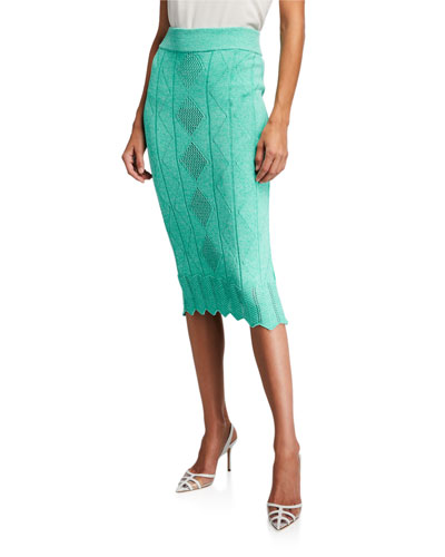 Pointelle Sweater Bodycon Maxi Skirt