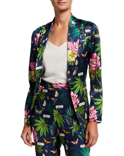Floral-Print Silk Smoking Jacket