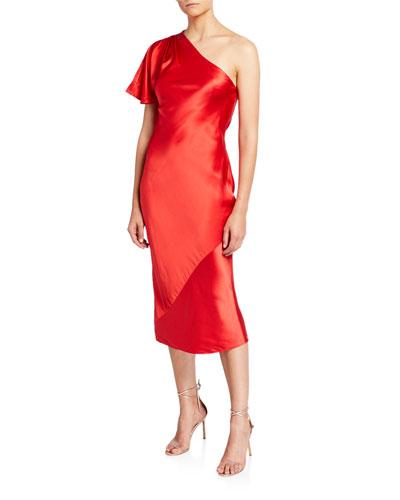 One-Shoulder Bias Midi Dress