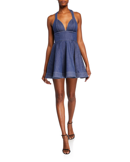 Tarrana Halter Flounce Chambray Short Dress