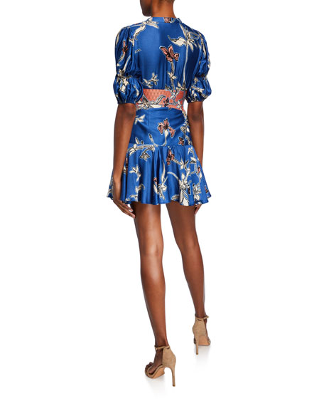 Nari Button-Front Fit-&-Flare Short Dress