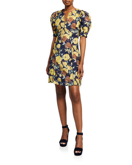 Image 1 of 1: Ella Floral-Print Puff-Sleeve Mini Cotton Dress