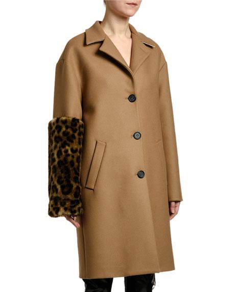 Leopard-Sleeve Single-Breasted Wool Coat