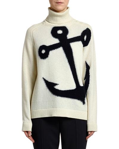 Intarsia Anchor Turtleneck Sweater