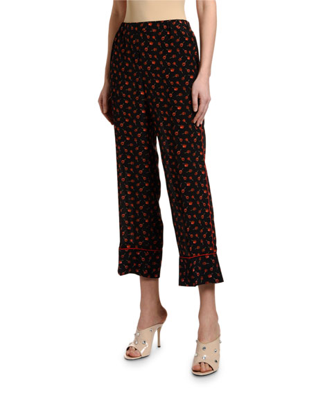 Candy-Print Cropped Pajama Pants
