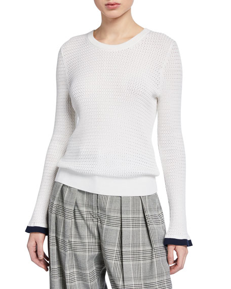 Perforated Knit Wool-Blend Crewneck Pullover