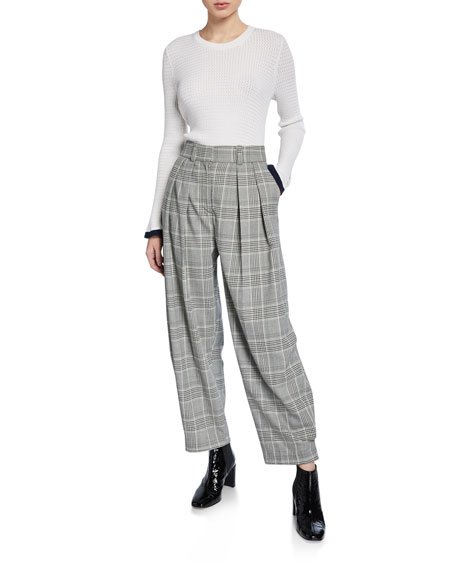 Gathered Check Pleated Trousers