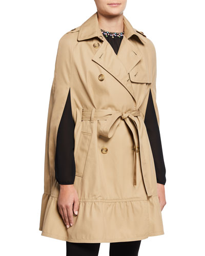 Gabardine Cape Trench Coat