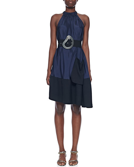 Draped Asymmetrical Sleeveless Dress with Belt