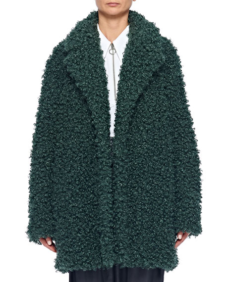 Curly Faux-Shearling Peacoat