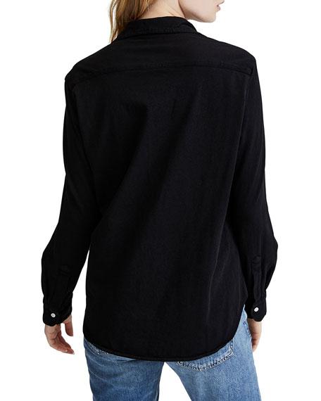 Button-Down Long-Sleeve Cotton Shirt, Black