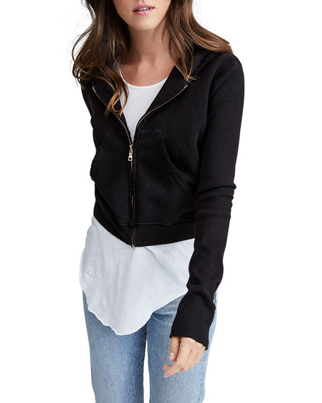 Zip-Front Triple Fleece Crop Hoodie Jacket