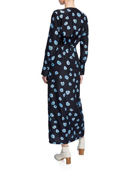 Darka Tie-Front Floral-Print Long-Sleeve Dress