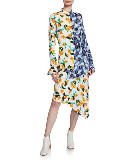 Devla Floral-Print Draped Asymmetrical Dress